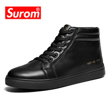 SUROM Winter Warm Leather Casual Shoes High Top Men Flat Shoes Luxury Brand Sneakers Black Classic Fashion Footwear Ankle Boots