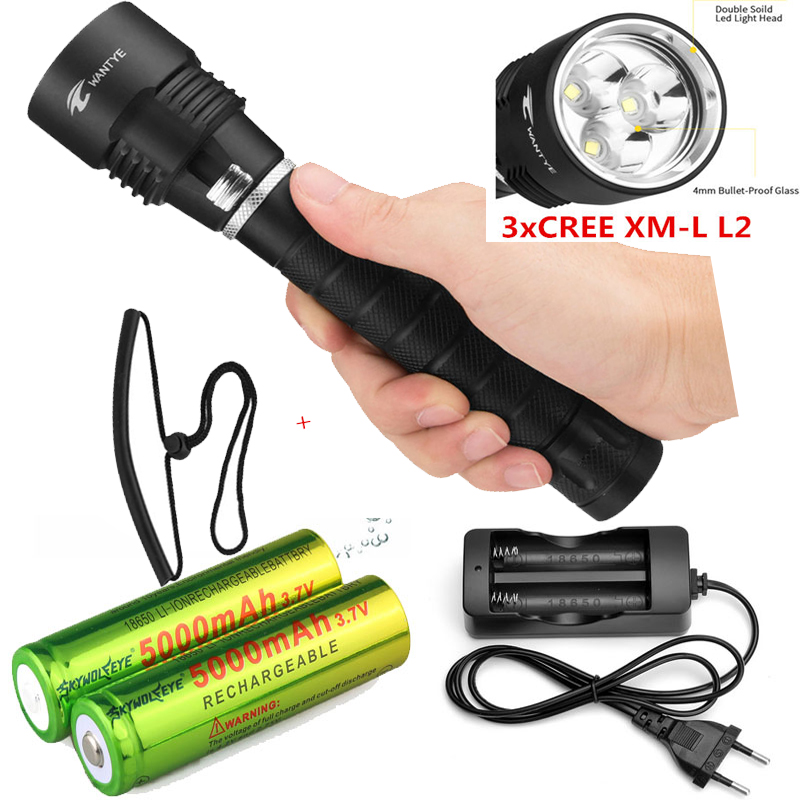 New white 3x XML-L2  6000lm LED Waterproof Diving Flashlight MagSwitch Diving Torch Lantern LED Flash Light+battery +charger new 6000lm underwater diving flashlight torch 3x xml l2 led light waterproof linterna 3 l2 led flash light 26650 charger