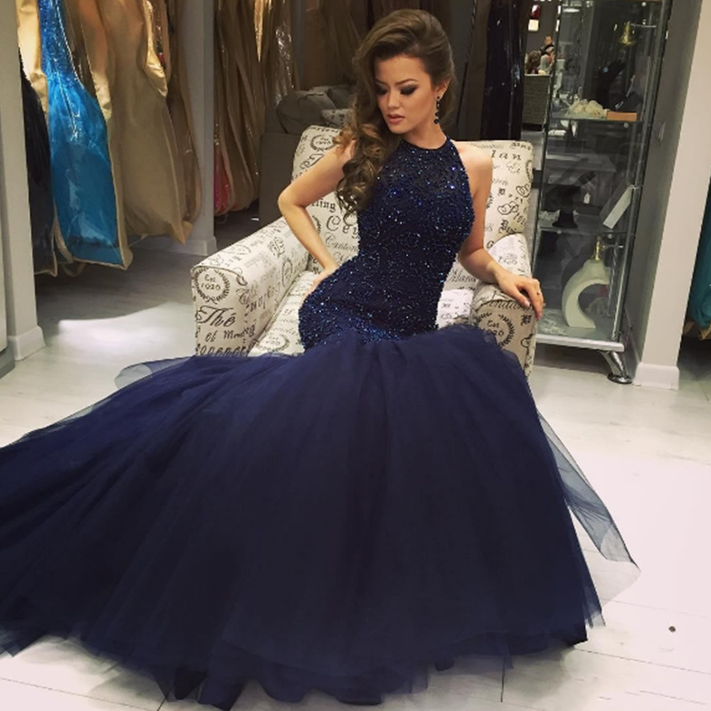Mermaid O Neck   Prom     Dresses   Floor Length Key Hole Back Sleeveless Beading Tulle Evening Formal Party   Dress   Vestido De Fiesta