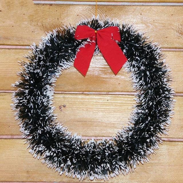 35cm Christmas Decorations Wreath Rattan Ring Bow Door Hanging Garland