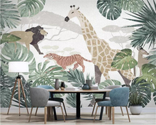 Купить с кэшбэком Beibehang papel de pared Wallpaper tropical plant animal giraffe TV background wall paper home decoration bedroom 3d wallpaper