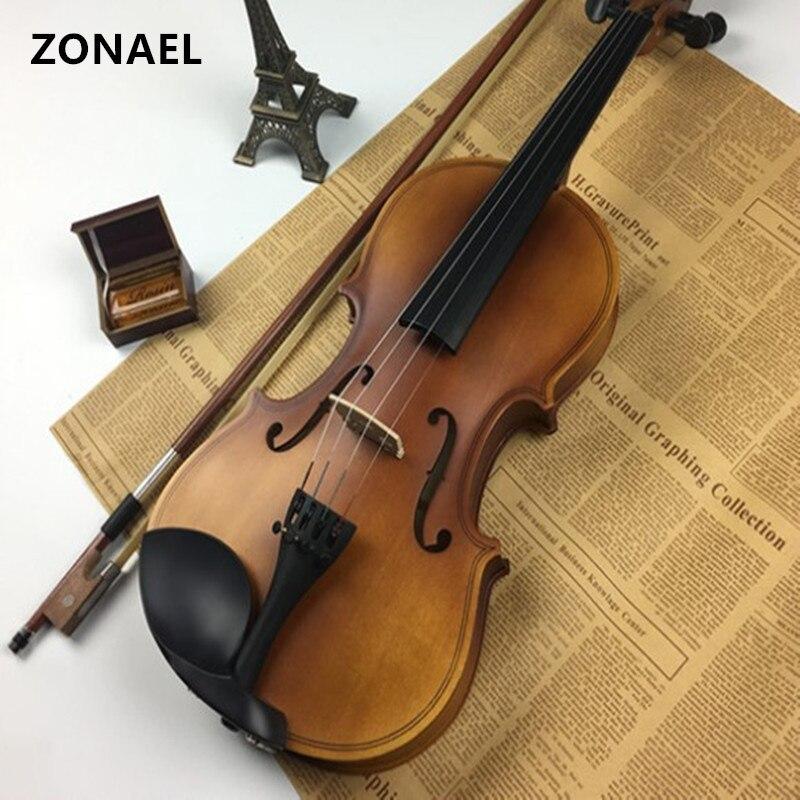 ZONAEL Professional 4/4 Full Size Violino Violino In Legno Massello Acustica Con Protegge La Cassa Del Sacchetto Arco Colofonia Musical Instru Tiglio V001