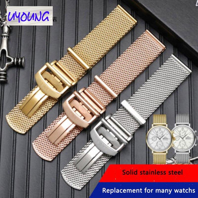 Solide en acier inoxydable Milan maille ceinture Fit pour IWC Portofino mâle portugais sept jours bracelet de montre 22mm style Original 20mm sangle