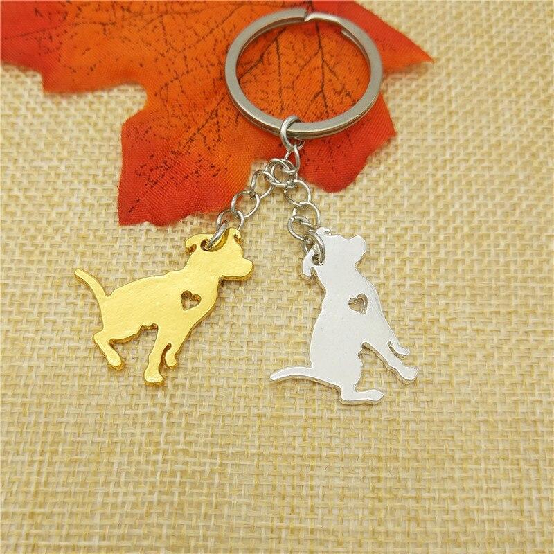 Dropship Trendy Pit Bull Key Chain Women Bag Pendant Car Key Ring Cute Dog Jewelery Christmas Gift Gold Silver Color