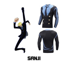 Japanese Anime Men Top Tees Fitness Long Sleeve 3D Print Cartoon T shirt ONE PIECE Sanji Compression Sports Muscle Casual Tops