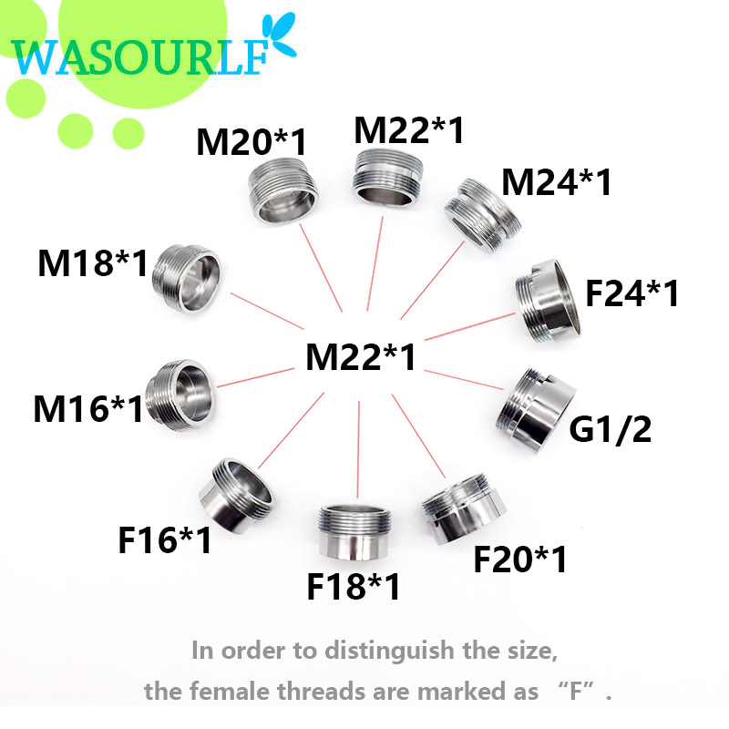 WASOURLF Adapter 16 20 22 24 Mm Male Thread Transfer 22 Mm Connector Shower Bathroom Kitchen Brass Material Faucet Accessories