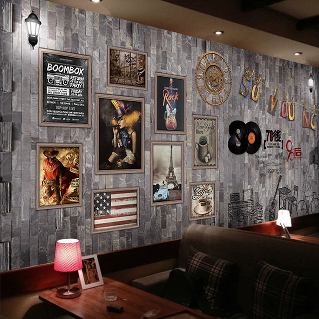 Bar Wallpaper: Beibehang Custom European 3D Frame Painting Poster