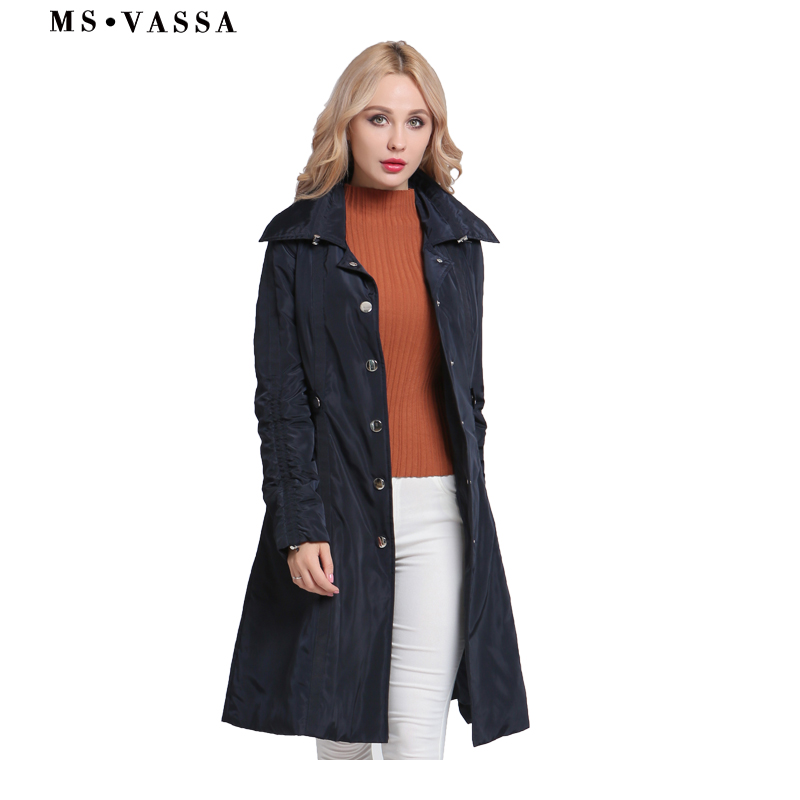 MS VASSA Ladies Parkas 2018 New fashion long jackets Women Autumn Winter  coats turn-down collar plus size 3XL outerwear a74892f35d