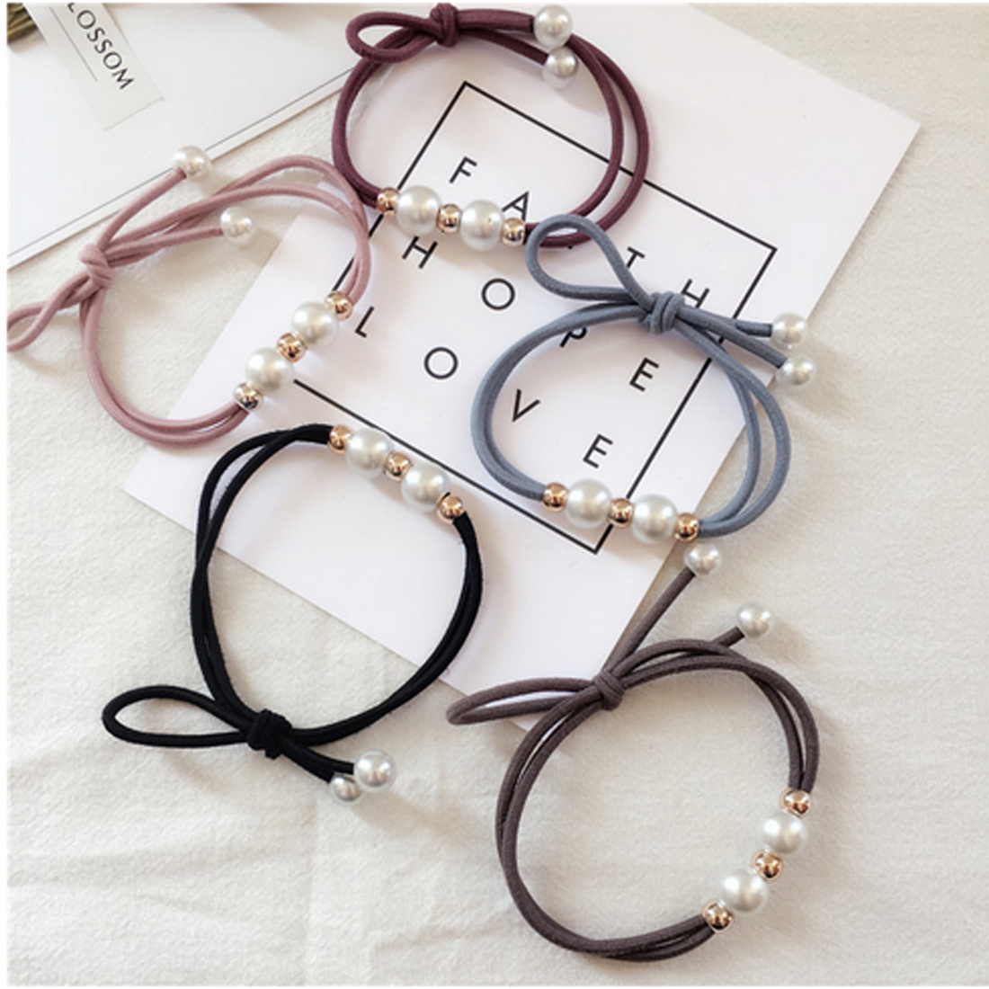 5PCS/LOT Women Girls Luxury Pearls Bowknot Elastic Hair Bands Headband Tie Gum Ponytail Holder Hair Ropes Hair Accessories