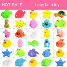 20Pcs/set Cute Soft Baby Bath Toys Rubber Duck Animal Float Squeeze Sound Mini Wash Bath Toys Kids Educational Toys(China)