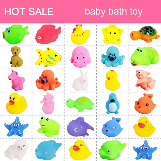 20Pcs/set Cute Soft Baby Bath Toys Rubber Duck Animal Float Squeeze Sound Mini Wash Bath Toys Kids Educational Toys