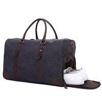 MCO 2018 Vintage Waxed Canvas Men Travel Duffel Large Capacity Waterproof Travel Bags Carry On Weekender