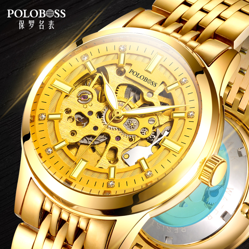 Top Luxury Golden Automatic Men Watch Mechanical Self Wind Gold Watches Skeleton Self-winding Wristwatches Hollow Out Male Clock retro hollow skeleton automatic mechanical watches men s steampunk bronze leather brand unique self wind mechanical wristwatches