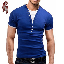 HEYKESON Male 2018 Short Sleeve Fake Two T Shirt V Neck Slim Men T Shirt Camisetas