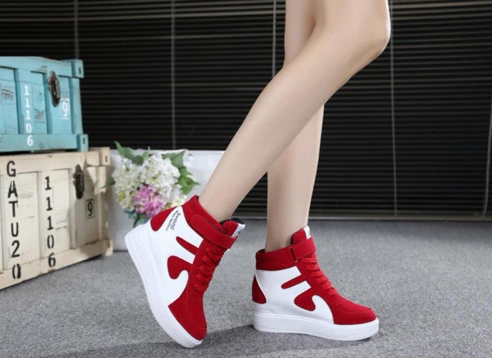 Y Otoño Fondo Coreana gris rojo Grueso Velcro 2019 De Primavera rosado Negro Casuales Zapatos Joker Dentro Nueva Versión Aumento Rqx5AE