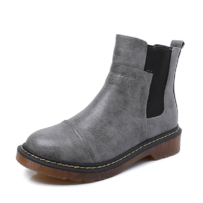 ФОТО Fashion Plain Round Toe Slip On Flats Women Boots Plus Size High Top Oxfords Shoes Woman Motorcycle Boots For Women