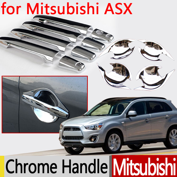 for Mitsubishi ASX 2010 - 2017 Chrome Door Handle Cover 2011 2012 2013 2014 2015 2016 Accessories Car Stickers Car Styling for renault captur luxurious chrome door handle covers accessories stickers car styling 2013 2014 2015 2016