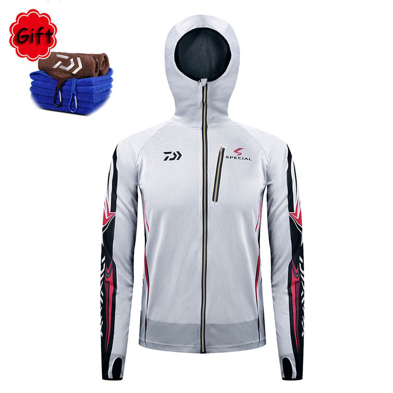 Summer White Fishing Clothing Men Hooded Sunproof Fishing Jersey Breathable Long Sleeve Fly Fishing Jacket Riding Hiking Clothes