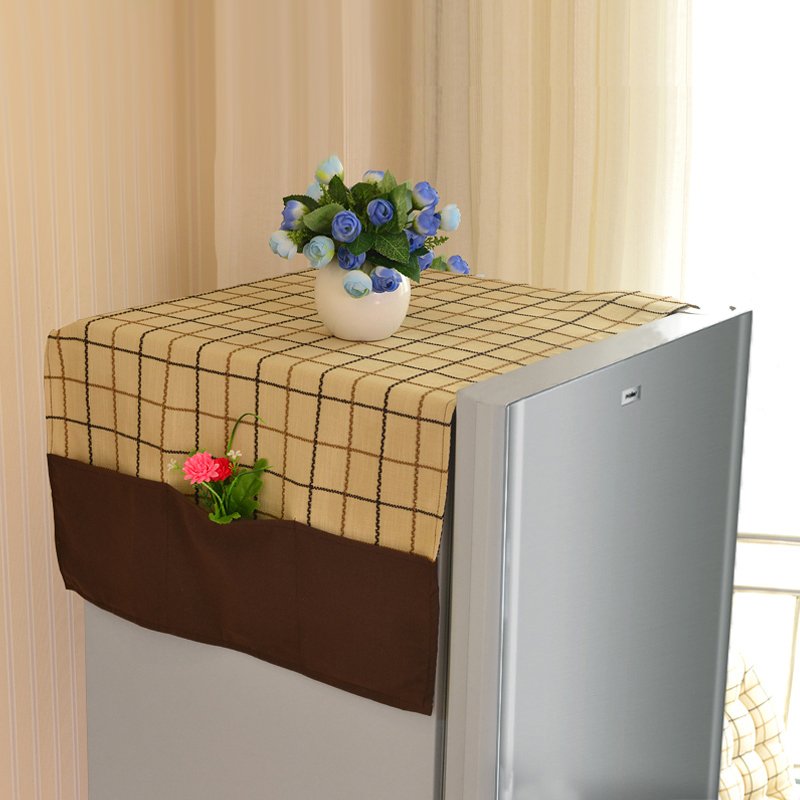 TheMis colorful plaid refrigerator towel cover decorative
