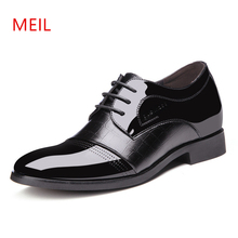 Height Increasing Men Patent Leather Elevator Dress Shoes Brand Derby Elegant Formal Office Wedding Suit Man