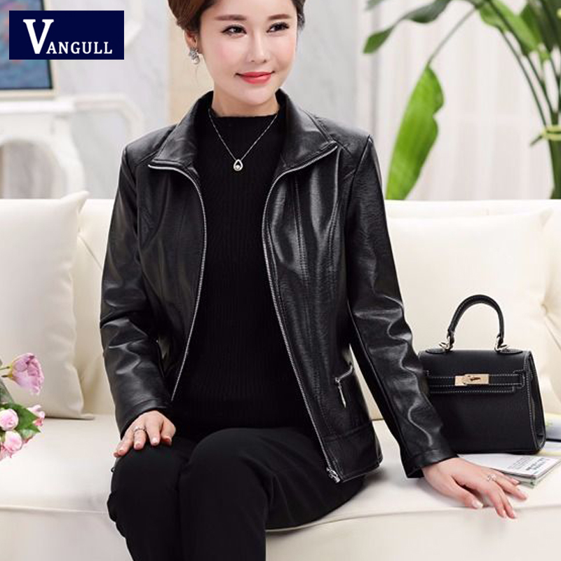 Vangull Women Faux   Leather   Jackets Fashion Autumn Winter Female Solid PU   Leather   Coat Long Sleeve Plus Size Women   Leather   Jacket