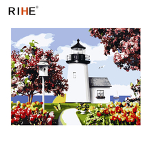 RIHE Lighthouse Diy Painting By Numbers Abstract Tree Oil Painting On Canvas Cuadros Decoracion Acrylic Wall Picture 40X50CM rihe seaside house diy painting by numbers abstract lighthouse oil painting on canvas cuadros decoracion acrylic wall picture