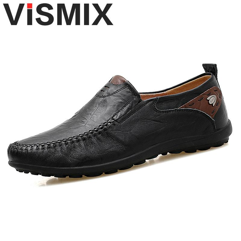 VISMIX Big Size 46 47 Slip On Casual Men Loafers Spring And Autumn Mens Moccasins Shoes Genuine Leather Men's Flats Shoes men s casual shoes loafers spring autumn slip on loafers men black mens shoes casual mens loafers rivet big size 46 47 48 socks