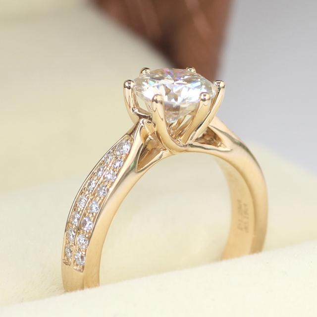14K 585 Gold 1.2CT Moissanite Diamond Ring