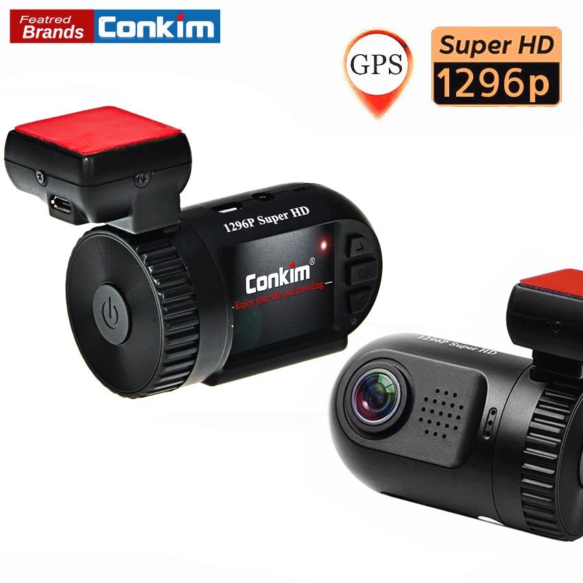 Conkim CAR DVR/Camera Ambarella A7LA50 Super HD 1296P Auto Car DVR Camera Recorder GPS Logger+G-SENSOR+WDR/HDR+ LDWS Mini 0805 цены онлайн
