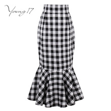 Фотография Young17 vintage skirt 2017 summer black plaid trumpet women party skirt ruffles mermaid female elegant vintage office skirt