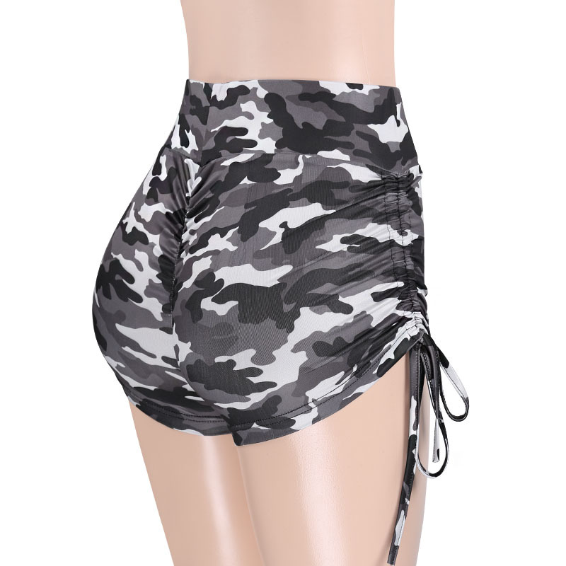 Women Fashion Camo   Shorts   Butt Scrunch   Shorts   High Waisted Side Strings   Shorts   With Side Tie Up Bow Femal Camouflage   Shorts
