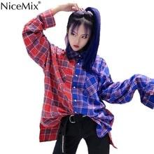 NiceMix Patchwork Multicolor Plaid Turndown Collar Button Loose Blouse Streetwear Harajuku Women/Men Shirt Autumn Top Punk Hipho covered button turndown collar shirt