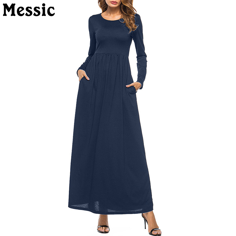 Women Elegant Maxi Dress 2018 Loose Long Sleeve Retro O Neck Spring Casual High Waist Long Party Gown Black Dresses Vestidos