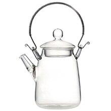Элегантный стеклянный чайник с ручкой термостойкий для цветущего улуна черный чай 350 мл Прозрачный