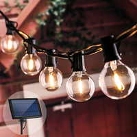 Solar Globe Bulb String Lights Retro Edison 18/25ft LED Garland Umbrella Solar Lights Waterproof for Garden Party Lighting