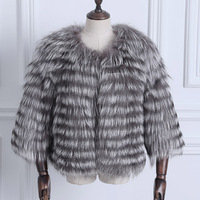 winter fur vest for women natural silver fox fur female autumn warm fur strip sewed toghter 55cm long fur jacket V14