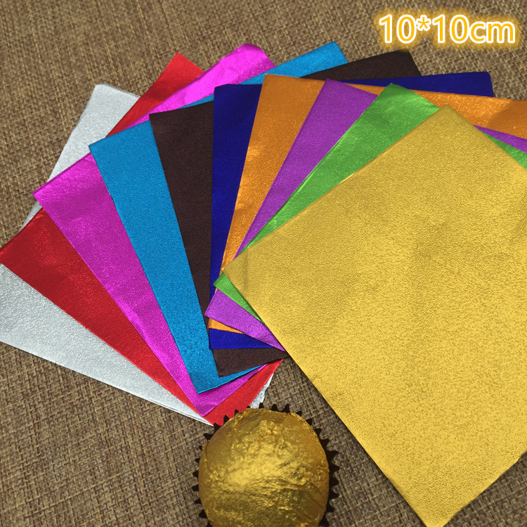 6000Pcs/Lot 10*10cm 3.93x3.93 Square Colorful Tin Foil Multi Colored Foil Wrapper For Chocolates Sweetmeats Package Paper