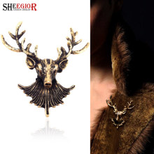 SHEEGIOR Indah Deer Head Collar Bros untuk Wanita Vintage Bronze Natal Rusa Bros Pins Lencana Paduan Fashion Perhiasan(China)