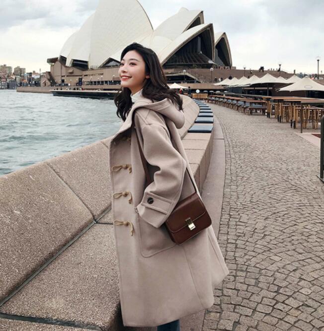 vent Lady Pardessus bleu Casual Ciel 2018 Nouvelle Mode Cachemire Beige Hiver Blend pu Fille Outwear Coupe Hoodies Manteaux Femmes Longue Laine Lâche wxSOgPqx