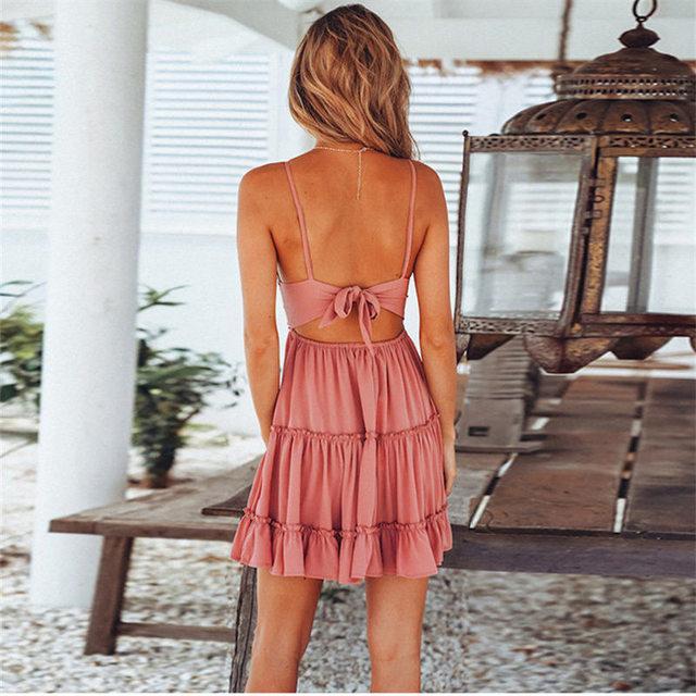 Women Summer Sexy White Lace Backless Spaghetti Strap Dress Casual V-neck Mini Beach Sundress Halter Bow Elegant Dresses