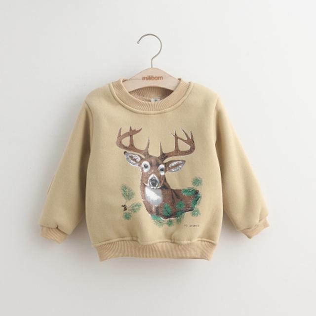 Niñas Otoño Invierno Niños Hoodies Sudaderas Patrón de Animales Para Niños, Además de Terciopelo Niños Outwear la Ropa de La Escuela Para El Año Nuevo