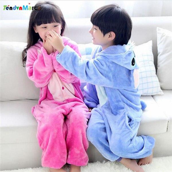 Stitch Baby Boys Girls Pajamas Autumn Winter Children Flannel Animal funny animal Cartoon Pajamas Kid Onesie Sleepwear
