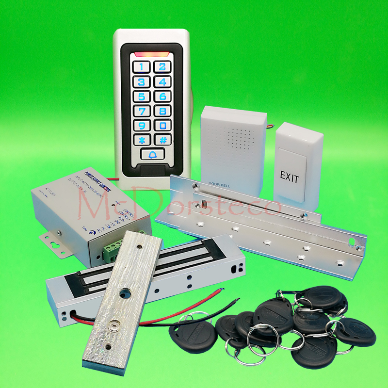 Metal IP68 Waterproof Full 125khz Rfid Door Lock control system Kit 180kg 350lbs Electric Magnetic lock+ ZL Bracket x6 rfid door entry system 180kg magnetic lock and u bracket for glass door