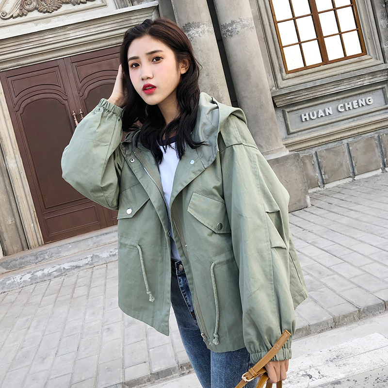 FTLZZ New Loose Trench Coat Spring Autumn Women's Hooded Black Green Windbreaker Outerwear Female Casual Trench Coat 6