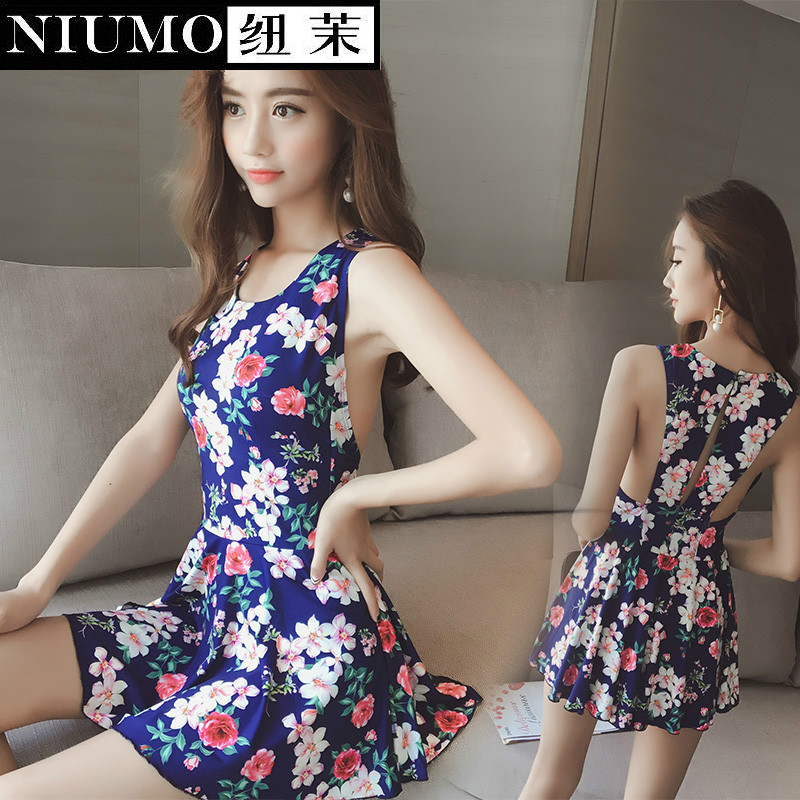 ФОТО NIUMO NEW one-piece swimsuit  woman Skirt type Siamese swimwear Retro printing spa Swimming suit