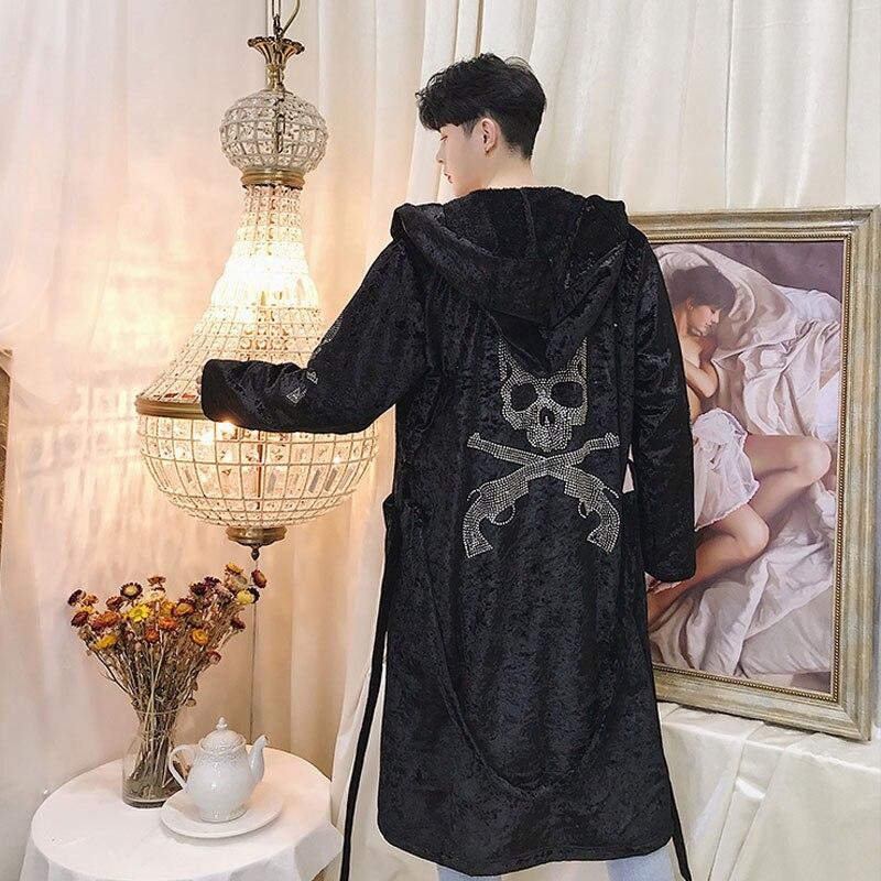 Hommes Casual Longue Tranchée Manteau Diamant Crâne Halloween À Capuche Manteaux Veste Streetwear Hip Hop Punk Gothique Pardessus Masculin Cardigan