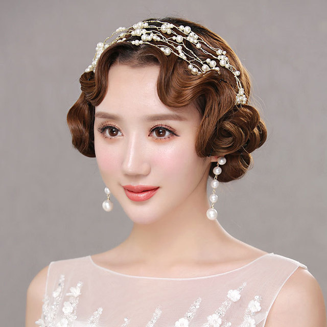 2018 Alloy New Simple Pearl Soft Hair Styling Bride Headband Wedding