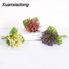 Xuanxiaotong White Lavender Foam Artificial Flowers Bouquet Purple Schaum lavender Magnolia for Fall Home Decoration