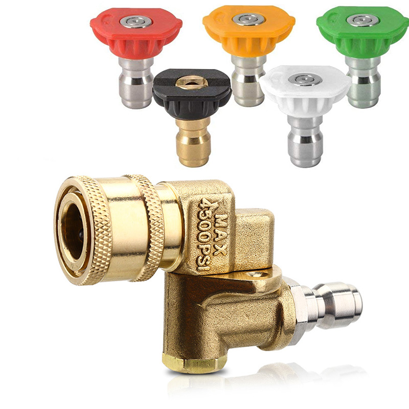 Adjustable Washer Tips 1/4'' Pressure Washer Quick Pivoting Coupler + 5x  Spray Nozzle Tips , Speed Traffic Rinse Jet Stream