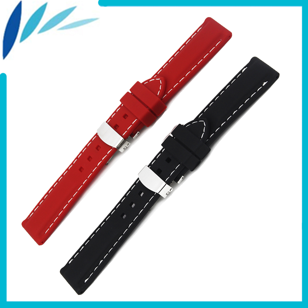 Silicone Rubber Watch Band 20mm 22mm 24mm Universal Watchband Hidden Clasp Strap Wrist Loop Belt Bracelet Black Red + Tool купить